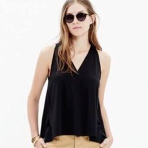 Madewell Night Out Black Tank Deep V neck Top